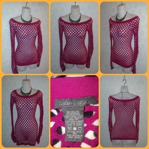 Hot Pink Long Sleeved Mesh Tank Top